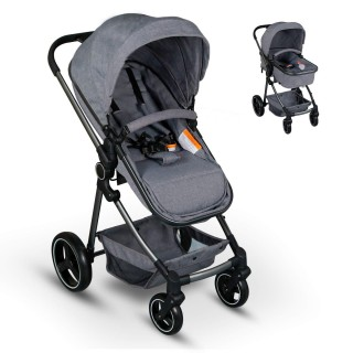 2 in 1 Baby Stroller for Newborn and Toddler Convertible Compact  Baby Carriage with High Landscape Infant Stroller & Reversible Bassinet Pram