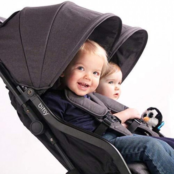 Contours Bitsy Double Compact Fold Lightweight Travel Stroller, Midnight Grey