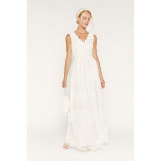 Bridal Embroi red Tulle Maxi Dress