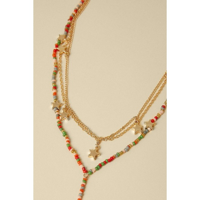 bow Bead Drop Necklace